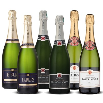 Mixed Champagne Case of 12 - 4 x Taittinger, 4 x H Blin, 4 x Chassenay