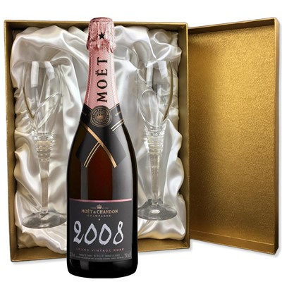 Moet & Chandon 2009 Rose Vintage Rose Champagne 75cl in Gold Presentation Set With Flutes