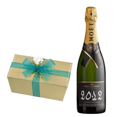 Moet & Chandon 2012 Brut Vintage Champagne 75cl With Selection Of Milk, White And Dark Belgian Chocolates 460g