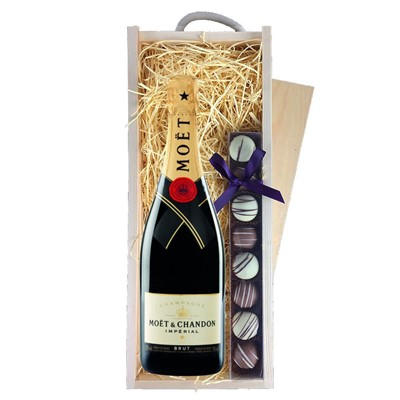 Moet & Chandon Brut Champagne 75cl & Champagne Truffles, Wooden Box