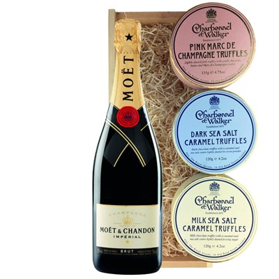 Moet & Chandon Brut Champagne 75cl And Charbonnel Trio of Truffles Gift Box