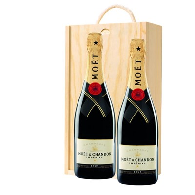 Moet & Chandon Brut Champagne 75cl Twin Pine Wooden Gift Box (2x75cl)