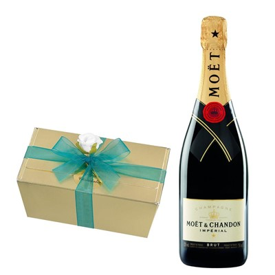 Moet & Chandon Brut Champagne 75cl With Selection Of Milk, White And Dark Belgian Chocolates 460g