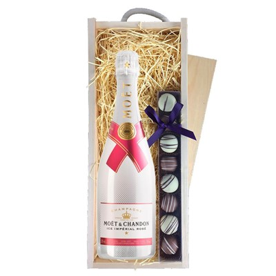 Moet & Chandon Ice Imperial Rose Champagne 75cl & Champagne Truffles, Wooden Box