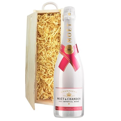 Moet & Chandon Ice Imperial Rose Champagne 75cl In Pine Gift Box