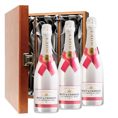 Moet & Chandon Ice Imperial Rose Champagne 75cl Three Bottle Luxury Gift Box
