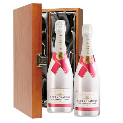 Moet & Chandon Ice Imperial Rose Champagne 75cl Twin Luxury Gift Boxed (2x75cl)