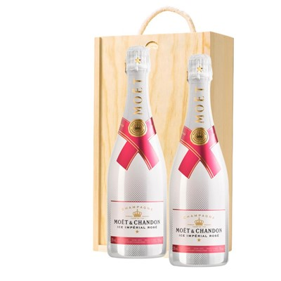 Moet & Chandon Ice Imperial Rose Champagne 75cl Twin Pine Wooden Gift Box (2x75cl)