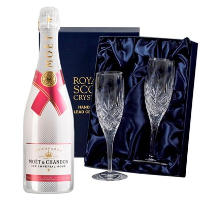 Moet & Chandon Ice Imperial Rose Champagne 75cl with 2 Royal Scot Edinburgh Flutes