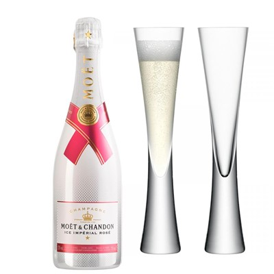 Moet & Chandon Ice Imperial Rose Champagne 75cl with LSA Flutes