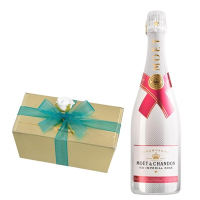 Moet & Chandon Ice Imperial Rose Champagne 75cl With Selection Of Milk, White And Dark Belgian Chocolates 460g