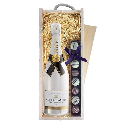 Moet and Chandon Ice White Imperial Champagne 75cl & Champagne Truffles, Wooden Box