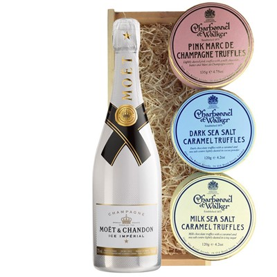 Moet and Chandon Ice White Imperial Champagne 75cl And Charbonnel Trio of Truffles Gift Box