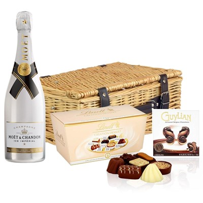 Moet and Chandon Ice White Imperial Champagne 75cl And Chocolates Hamper
