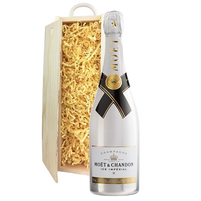 Moet and Chandon Ice White Imperial Champagne 75cl In Pine Gift Box