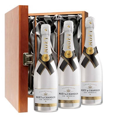 Moet and Chandon Ice White Imperial Champagne 75cl Three Bottle Luxury Gift Box