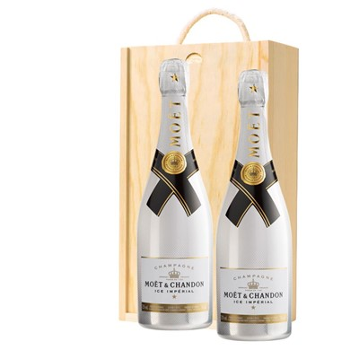 Moet and Chandon Ice White Imperial Champagne 75cl Twin Pine Wooden Gift Box (2x75cl)