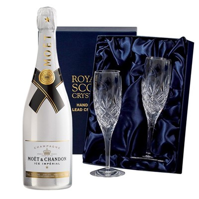 Moet and Chandon Ice White Imperial Champagne 75cl with 2 Royal Scot Edinburgh Flutes