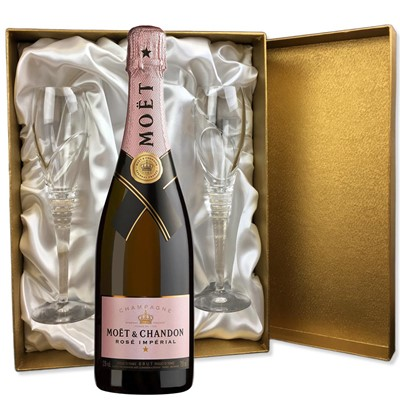 Moet & Chandon Rose Champagne 75cl in Gold Presentation Set With Flutes