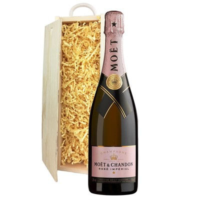 Moet & Chandon Rose Champagne 75cl In Pine Gift Box
