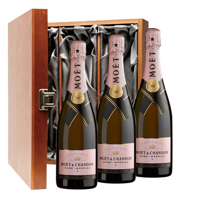 Moet & Chandon Rose Champagne 75cl Three Bottle Luxury Gift Box