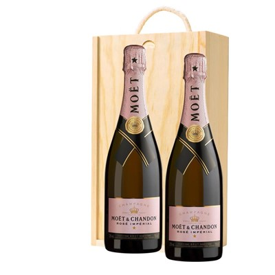 Moet & Chandon Rose Champagne 75cl Twin Pine Wooden Gift Box (2x75cl)