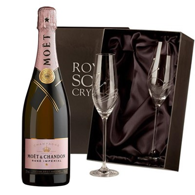 Moet & Chandon Rose Champagne 75cl with 2 Royal Scot Edinburgh Flutes