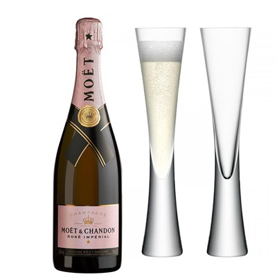 Moet & Chandon Rose Champagne 75cl with LSA Flutes