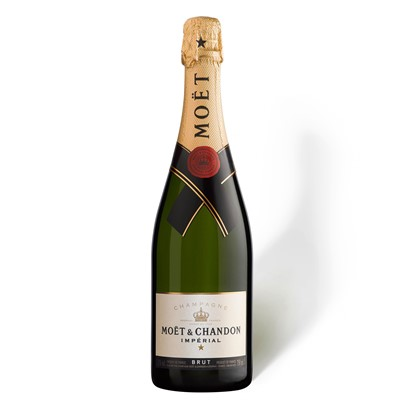 Buy Send a single bottle of Moet And Chandon Brut Imperial NV Champagne (75cl) Presented in a stylish Gift Box with Gift Card for your personal message, Moet And Chandon are the brand leaders in Champagne. The NV is dry and elegant with a good strong mousse. Price includes free UK Mainland Delivery, and Exports and international delivery available.