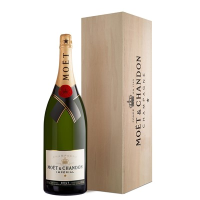 Buy a Methuselah of Moet & Chandon Brut Imperial NV Champagne 6 litres . Presented in a wooden gift box with sliding lid. . Price includes free UK Mainland Delivery, and Exports and international delivery available.