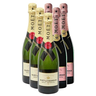 Case of Six Moet and Chandon 3x Brut Imperial 3x Moet Rose 75cl Bottles Bulk Packed in a single case. Price includes free UK Mainland Delivery, and Exports and international delivery available.