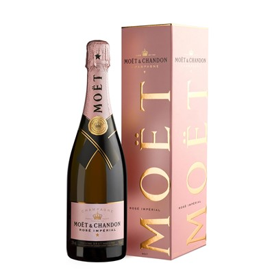 Buy Send a single bottle of Moet & Chandon Rose NV Champagne 75cl Presented in a stylish Gift Box with Gift Card with your personal message, Expressive aromas of wild strawberries and redcurrant dominate with hints of white pepper. . Price includes free UK Mainland Delivery, and Exports and international delivery available.