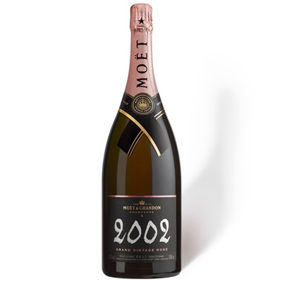 Moet Magnum Champagne Gift  Moet & Chandon Vintage Rose 2004 Magnum Champagne is light in colour but big in flavour. Slightly sweeter than other variants. Very pale strawberry in colour with very little aroma. A complex and full palate starting with dried fruits leading to mellow and gentle spices. . Price includes free UK Mainland Delivery, and Exports and international delivery available.