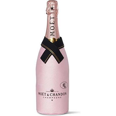 Moet & Chandon Imperial Rose Ice Jacket  From 1743 Moet & Chandon has been the world's most loved champagne. Brut Rose is a seductive wine the assemblage which is formed around Pinot Noir is both spontaneous and balanced emphasising fruity liveliness. It is zestful with great suppleness. The assemblage with red wine also gives it feminine coppery shades. The bottle is presented in a perfect fit champagne coloured Moet Ice Jacket. Simply chill in the freezer for 2 hours for the perfect pour of bubbly.  . Price includes free UK Mainland Delivery, and Exports and international delivery available.