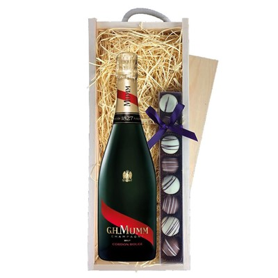 Mumm Cordon Rouge Champagne 75cl & Champagne Truffles, Wooden Box