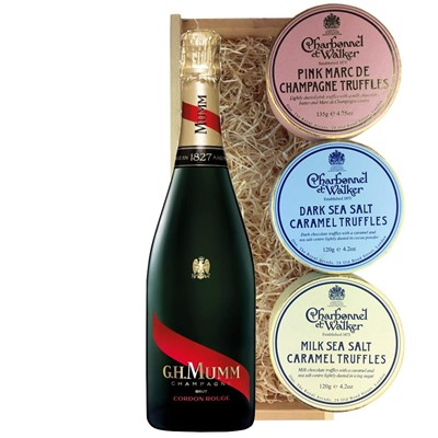 Mumm Cordon Rouge Champagne 75cl And Charbonnel Trio of Truffles Gift Box
