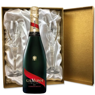 Mumm Cordon Rouge Champagne 75cl in Gold Presentation Set With Flutes