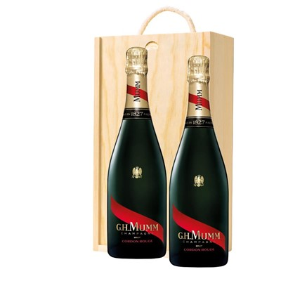 Mumm Cordon Rouge Champagne 75cl Twin Pine Wooden Gift Box (2x75cl)
