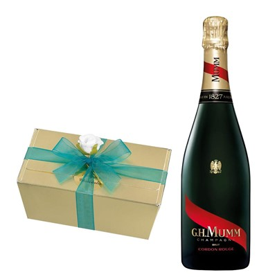 Mumm Cordon Rouge Champagne 75cl With Selection Of Milk, White And Dark Belgian Chocolates 460g
