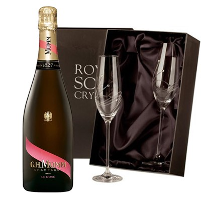 Mumm Le Rose Champagne 75cl with 2 Royal Scot Edinburgh Flutes
