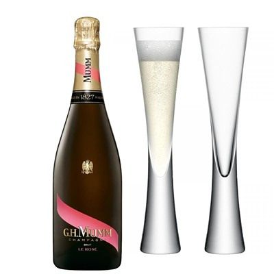 Mumm Le Rose Champagne 75cl with LSA Flutes