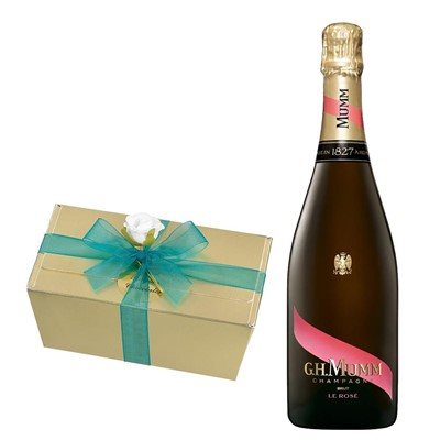 Mumm Le Rose Champagne 75cl With Selection Of Milk, White And Dark Belgian Chocolates 460g