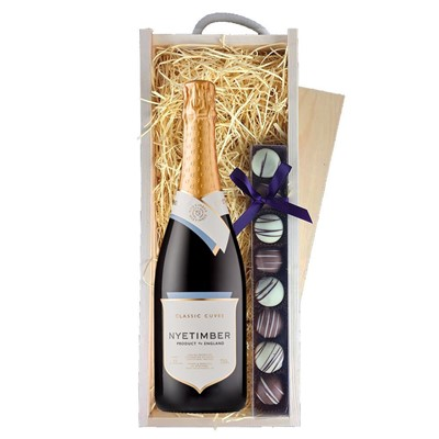 Nyetimber Classic Cuvee English Sparkling Wine 75cl & Champagne Truffles, Wooden Box