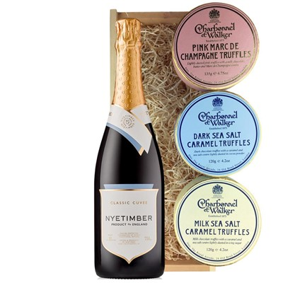 Nyetimber Classic Cuvee English Sparkling Wine 75cl And Charbonnel Trio of Truffles Gift Box