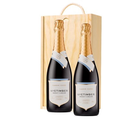 Nyetimber Classic Cuvee English Sparkling Wine 75cl Twin Pine Wooden Gift Box (2x75cl)