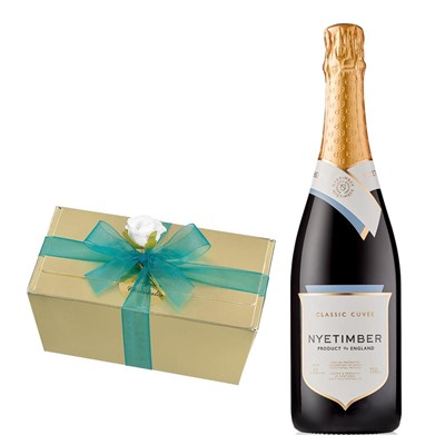Nyetimber Classic Cuvee English Sparkling Wine 75cl With Selection Of Milk, White And Dark Belgian Chocolates 460g