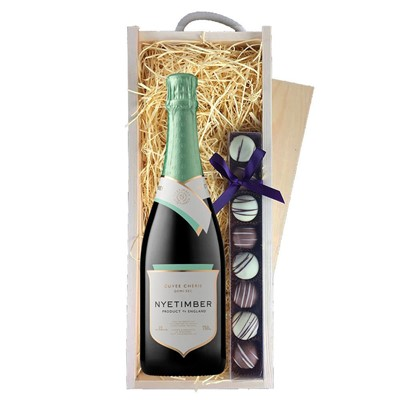 Nyetimber Demi-Sec English Sparkling Wine 75cl & Champagne Truffles, Wooden Box
