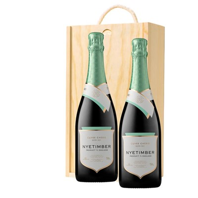 Nyetimber Demi-Sec English Sparkling Wine 75cl Twin Pine Wooden Gift Box (2x75cl)