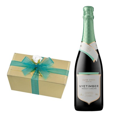 Nyetimber Demi-Sec English Sparkling Wine 75cl With Selection Of Milk, White And Dark Belgian Chocolates 460g