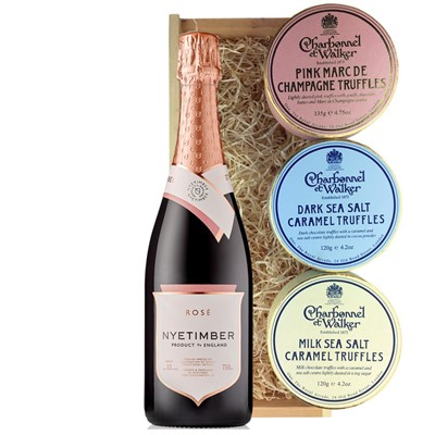 Nyetimber Rose English Sparkling Wine 75cl And Charbonnel Trio of Truffles Gift Box
